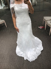 David's Bridal 'Lace Off Shoulder' size 12 new wedding dress front view on bride