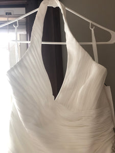 David's Bridal 'Halter' size 16 new wedding dress front view close up