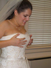 Load image into Gallery viewer, Maggie Sottero 'Beaded' size 8 used wedding dress side view close up on bride