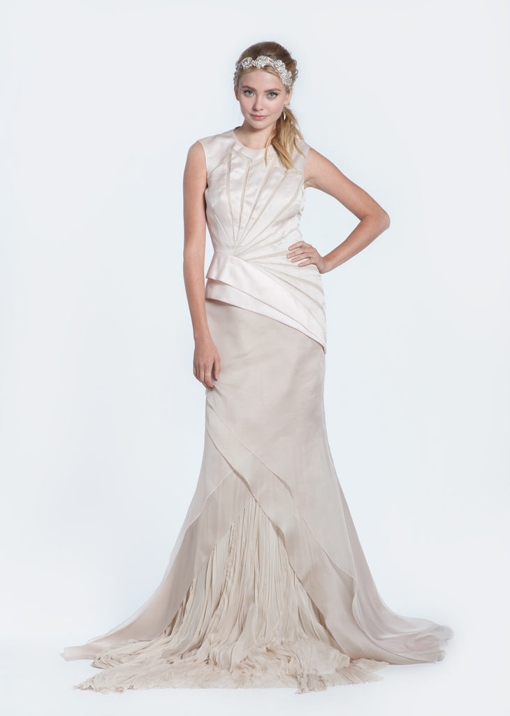Bibhu Mohapatra 'Angelina' Ivory & Nude Mermaid Wedding Dress - Bibhu Mohapatru - Nearly Newlywed Bridal Boutique - 3