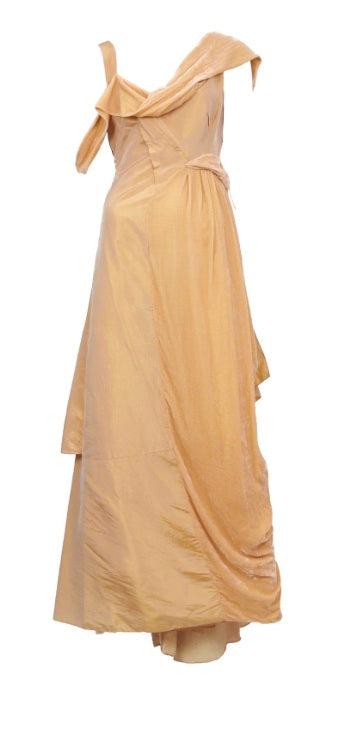 Christian Dior 'Galliano Peach Velvet' size 4 used wedding dress front view on hanger