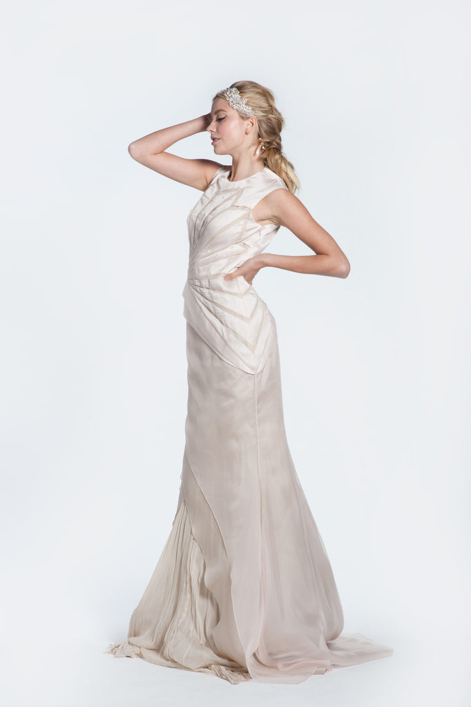 Bibhu Mohapatra 'Angelina' Ivory & Nude Mermaid Wedding Dress - Bibhu Mohapatru - Nearly Newlywed Bridal Boutique - 1