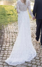 Load image into Gallery viewer, Carolina Herrera 'Claudette' size 12 used wedding dress back view on bride