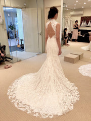 Custom  'Full Corded Lace Mermaid' size 4 used wedding dress back view on bride