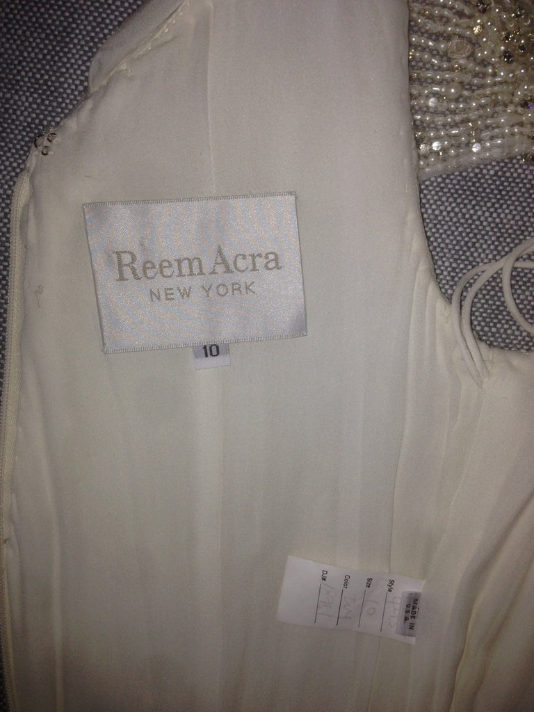 Reem Acra 'Olivia' size 10 used wedding dress view of tag