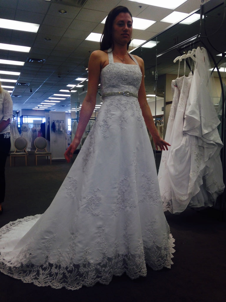 David's Bridal 'V8377' size 4 used wedding dress front view on bride