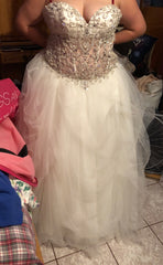 Custom 'England' size 18 new wedding dress front view on bride