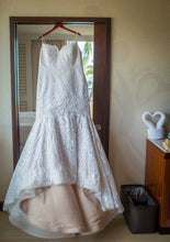 Load image into Gallery viewer, Hayley Paige 'West' size 16 used wedding dress front view on hanger