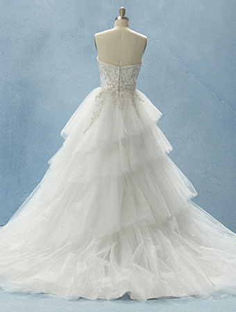 Alfred Angelo 'Cinderella Platinum' size 6 used wedding dress back view on mannequin