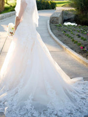 Allure Bridals 'Ivory Gold Lace' size 4 used wedding dress back view on bride