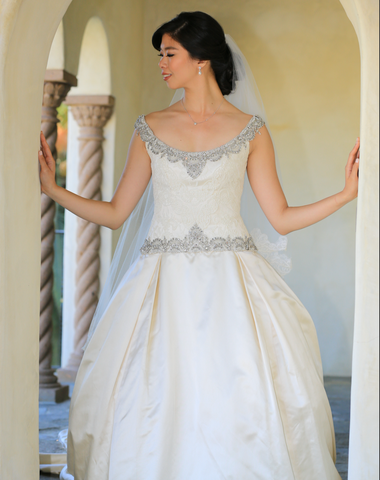 Judd Waddell 'Gwen' Duchess Satin A-Line Ball Gown with Exquisite Beading and Lace Bodice