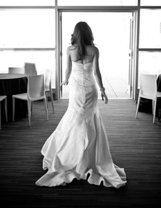 Junko Yoshioka 'Custom' size 0 used wedding dress back view on bride