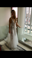 Berta 'Fall/Winter 2018 - 119' size 2 used wedding dress front view on bride