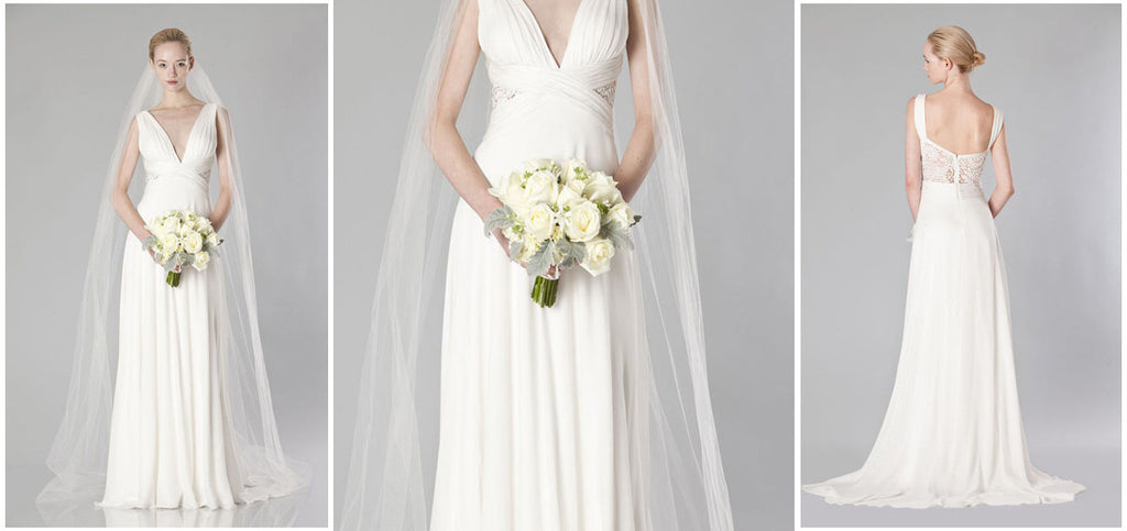 Theia Ruched Chiffon Gown - THEIA - Nearly Newlywed Bridal Boutique - 5