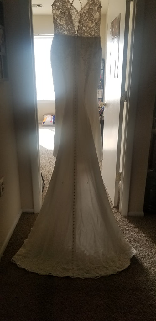Stella york '6476' size 14 used wedding dress back view on hanger