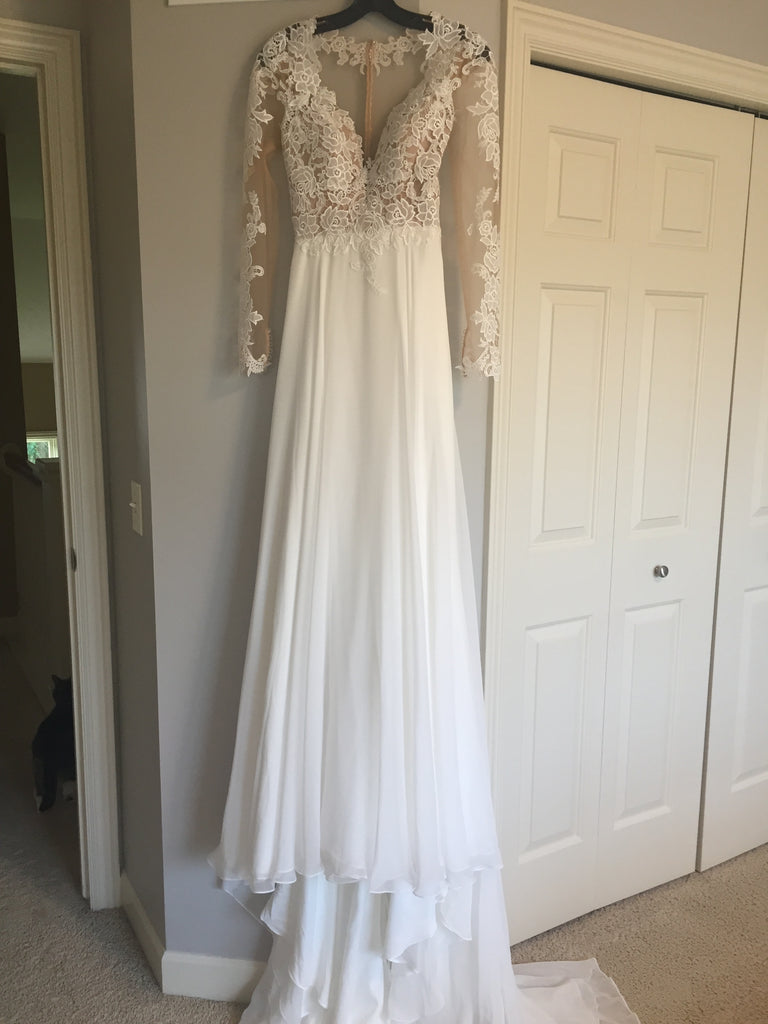 dcfa128dae7 Lillian West  6422  size 2 new wedding dress front view on hanger