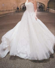 'Stella York 'Organza Princess' size 8 used wedding dress front view on bride