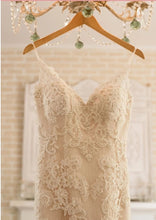 Load image into Gallery viewer, Casablanca 'Exotic Escape 1975' size 4 used wedding dress front view on hanger