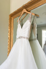 Hayley Paige '6704' size 4 used wedding dress front view on hanger