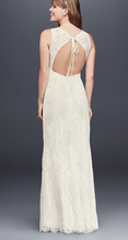 Load image into Gallery viewer, Galina 'Flower Lace V-Neck' size 8 new wedding dress back view on model