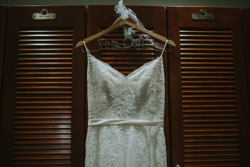 Watters 'Love Marley Katy' size 8 used wedding dress front view on hanger