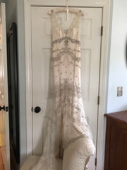 Amsale 'Kate' size 2 used wedding dress front view on hanger