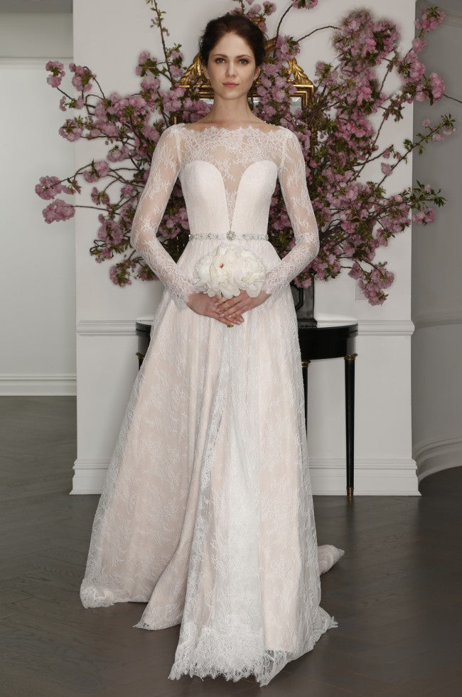 Romona Keveza 'L7127' size 4 sample wedding dress front view on model