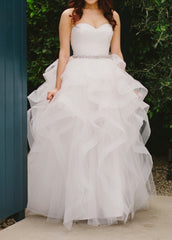 Reem Acra 'Eliza' size 2 used wedding dress front view on bride