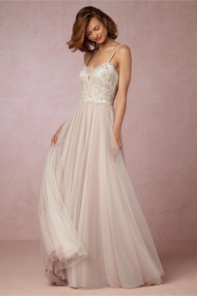BHLDN 'Nina' size 4 used wedding dress front view on model