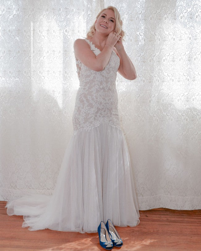 Galina Signature 'SWG723' size 10 used wedding dress front view on bride