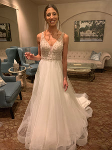 Stella York ' Beaded Ballgown' size 4 used wedding dress front view on bride