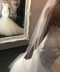 Maggie Sottero 'Ivory Mermaid' size 2 new wedding dress front/back views on bride