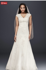 David's Bridal 'Lace Over Satin' size 12 used wedding dress front view on model