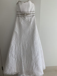 Cosmobella '7385' size 12 used wedding dress front view on hanger