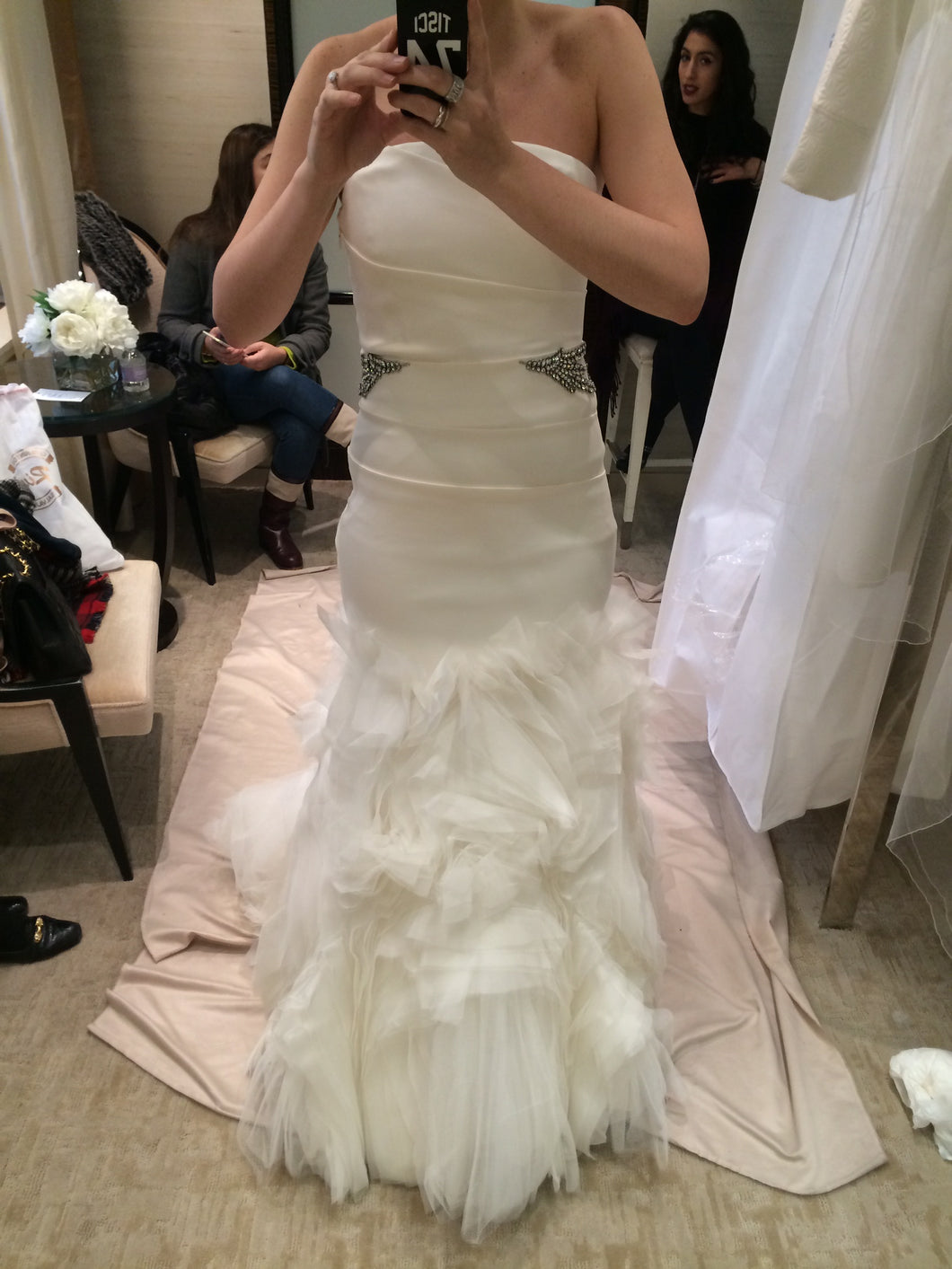 Vera Wang 'Kathleen' size 8 used wedding dress front view on bride