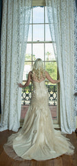 Stella York '5986 Vintage Lace' size 2 used wedding dress back view on bride