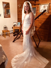 David's Bridal 'Sincerity' size 4 new wedding dress front view on bride
