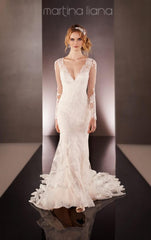 Martina Liana '675' size 6 used wedding dress front view on model