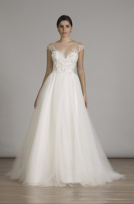 Lian Carlo '6839' size 14 new wedding dress front view on model