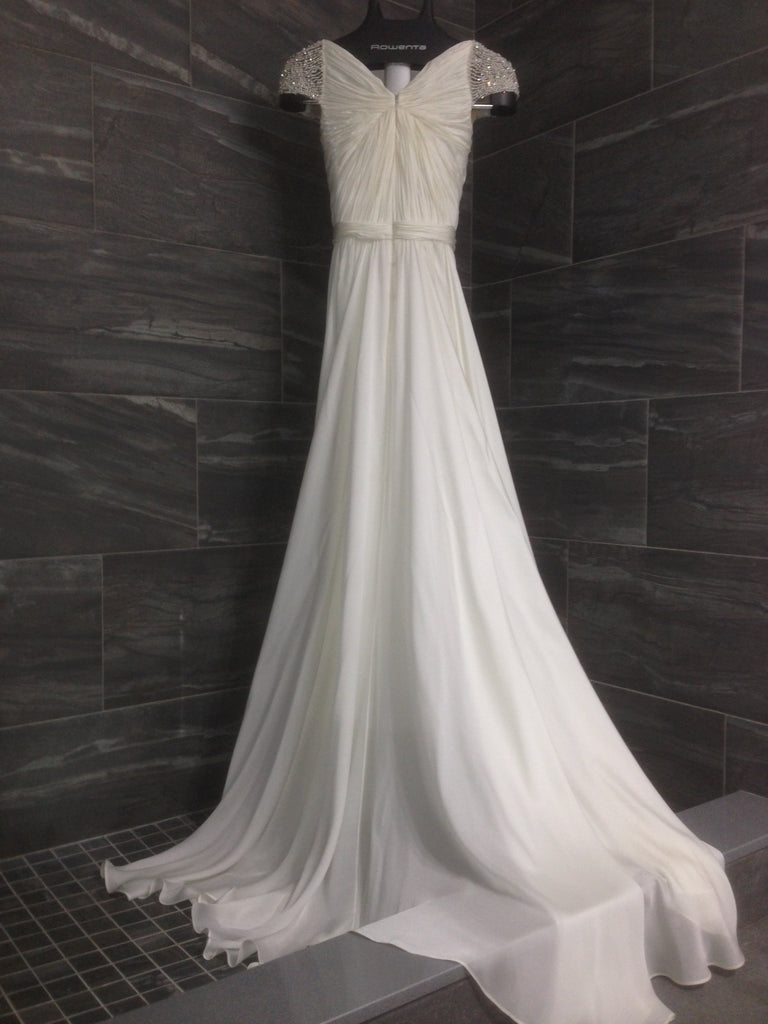 c0d3dfaa517 Reem Acra  Olivia  size 10 used wedding dress back view on hanger