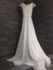 Reem Acra 'Olivia' size 10 used wedding dress back view on hanger