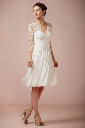 BHLDN 'Omari' size 4 used wedding dress front view on model
