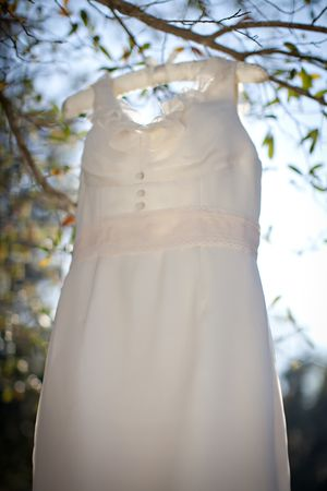 Melissa Sweet 'Ivory' size 6 used wedding dress front view on hanger