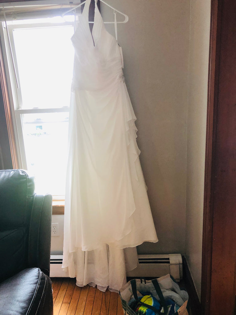 David's Bridal 'Halter' size 16 new wedding dress front view on hanger