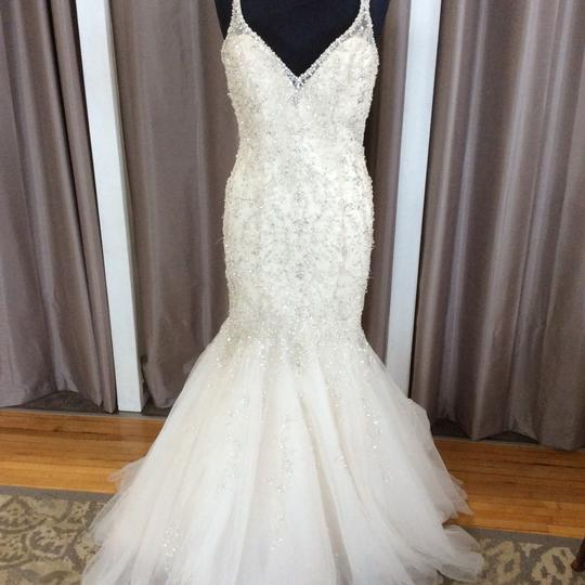 Mori Lee '2823' size 6 used wedding dress front view on mannequin