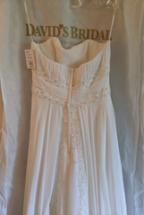 David's Bridal 'Soft Chiffon' size 6 new wedding dress back view on hanger
