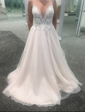 Load image into Gallery viewer, David's Bridal 'Ivory Rose Beaded' size 2 used wedding dress front view on bride