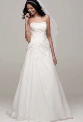 David's Bridal 'Chiffon Over Satin' size 4 new wedding dress front view on model