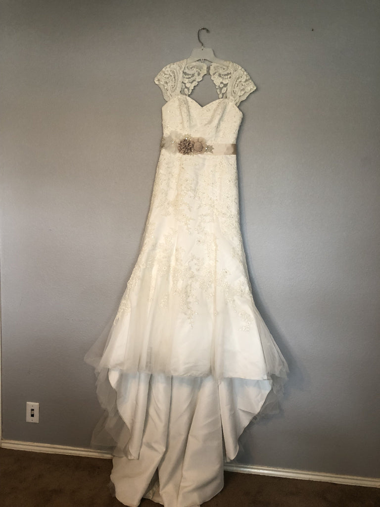 David's Bridal 'Tulle Over Satin' size 8 used wedding dress front view on hanger