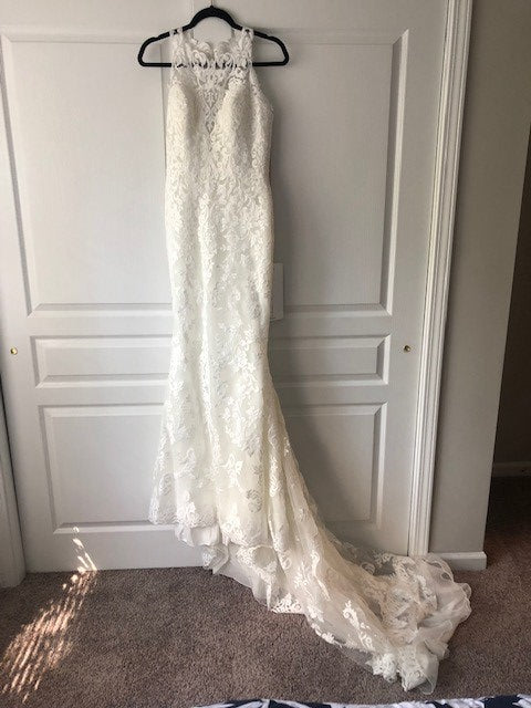 St. Patrick 'Bambari' size 8 new wedding dress front view on hanger